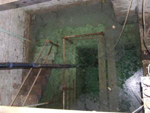 Budapest, X. kerületben egy elhanyagolt kútház. Emelkedik a vízszint, a környékről az állatok ide járnak inni, a víz fekáliával fertőzött!  Kút vízadóképessége valahol 1.000 liter/perc környékén volt!